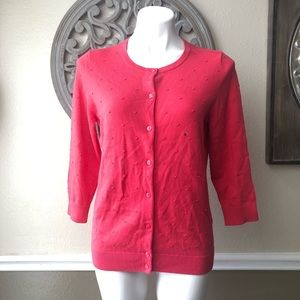 Talbots Coral NWT 3/4 sleeve Cardigan Medium